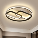 Rectangle and Ring Flush Light Contemporary Iron LED Black Ceiling Mounted Fixture in Warm/White Light, 16.5