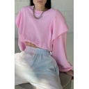 Fancy Patchwork Long Sleeve Crew Neck Drawstring Solid Color Loose Cropped Pullover Sweatshirt