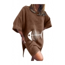 Casual Fishbone Printed Batwing Sleeve Round Neck Slit Sides Short Oversize Dress for Girls