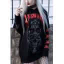 Gothic Womens Letter Skull Graphic Patchwork Long Sleeve Drawstring Long Relaxed Hoodie in Black