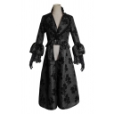 Gothic Womens Applique Lace Patched Bell Long Sleeve Turn Down Collar Slit Front Long A-line Dress