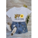 Casual Womens Letter Peace Love Sunshine Heart Gesture Sunflower Graphic Roll Up Sleeve Crew Neck Fit T Shirt