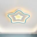 Pink/Blue LED Star Ceiling Flush Nordic Style Acrylic Flush Mount Lighting for Kids Room