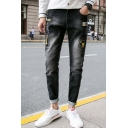 New Fashion Embroidery Patched Stretch Skinny Black Ripped Jeans for Men