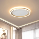 Circular Metallic Flush Mount Modern Gold/Coffee LED Flush Light Fixture in Warm/White Light, 16.5