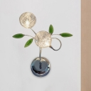 Chrome Globe Wall Lighting Ideas Contemporary LED Crystal Wall Light Sconce with Leaf Deco