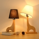 Giraffe-Like Base Bedroom Desk Lamp Wood 1-Light Minimalist Night Lighting with Conic Fabric Shade in Black/White