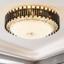 LED Ceiling Mount Light Post-Modern Hotel Flushmount Lighting with Dome Crystal Shade in Black