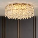 Drum Clear Crystal Hexagon Flushmount Minimalistic 4/6 Lights Bedroom Ceiling Flush Light, 16.5