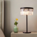 Crystal Prism Drum Table Lamp Minimalistic 4-Light Living Room Nightstand Light in Black