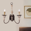 2-Bulb Swag Sconce Light Fixture Rural Rust Iron Wall Lamp with Wood Candle Design