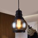 1 Light Jar-Shape Pendant Light Kit Industrial Black Finish Clear Glass Hanging Lamp