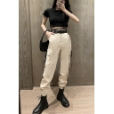 Khaki Street Mid Rise Utility Corduroy Cuffed Ankle Length Baggy Cargo Pants for Female