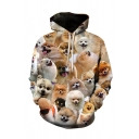 Unique Allover Dog 3D Printed Long Sleeve Drawstring Relaxed Khaki Hoodie with Pocket