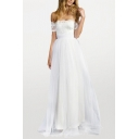 Adorable Womens Lace Trimmed Short Sleeve Off the Shoulder Bow Tied Back Maxi Pleated Flowy Dressing Gown in White