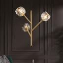 Cut Crystal Bouquet Suspension Pendant 3/6 Lights Dining Table Chandelier Lighting in Gold