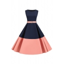 Retro Womens Colorblock Belted Sleeveless Round Neck Mid Pleated Swing Dress