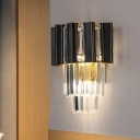 Black 3 Bulbs Wall Light Sconce Modern Prismatic Crystal Tiered Flush Mount for Living Room