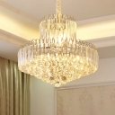Clear Crystal Tiers Conical Hanging Lamp Contemporary 6/8 Lights Dining Room Chandelier Pendant