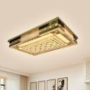 Gold Rectangle Flush Ceiling Light Simple Stylish Crystal Living Room LED Flushmount