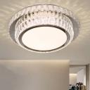 2 Tiers Bedroom LED Ceiling Fixture Minimalistic Crystal Nickel Finish LED Flush Light