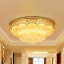 6 Heads 2-Tiered Cone Flush Light Modern Stylish Clear Crystal Flush Mount Ceiling Lighting Fixture