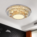 Stainless-Steel LED Scalloped/Round/Oval Flush Mount Modern Clear Crystal Glass Ceiling Flush for Bedroom