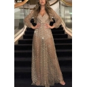 Sexy Ladies Sequin Embellished Backless V Neck Long Sleeve See Through Maxi A-Line Gown Evening Dress in Gold