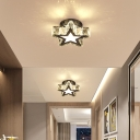 Star/Loving Heart Mini Aisle Flush Mount Simple Style Crystal LED Chrome Ceiling Mount Lighting