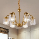 Gold Cylinder Down Lighting Contemporary Clear Crystal 6/8-Light Pendant Chandelier with Curvy Arm