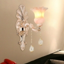 1/2-Light Flower Sconce Modern Style Crystal Wall Mounted Lighting in Champagne for Backdrop Sofa