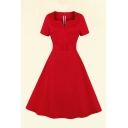 Elegant Womens Solid Color Buckle Belted Pleated Notched Neck Short Sleeve Midi A-Line Dress in Red