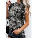 Fashion Womens Camo Printed Chest Pocket Stringy Selvedge Crew Neck Ruffle Sleeve Relaxed Fit Tee Top