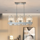 Modern Column Shade Ceiling Lamp Clear Crystal 6-Light Island Pendant in Chrome for Dining Room