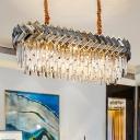 Modern Ellipse Ceiling Lamp Crystal Prisms 10 Lights Restaurant Island Lighting Fixture in Black and Gold
