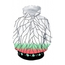 Designer Boys White Geometric Printed Ombre Long Sleeve Drawstring Pouch Pocket Loose Hoodie