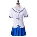 Preppy Looks Stripe Printed Short Sleeve Sailor Collar Slit Fit Tee & Mini A-line Pleated Skirt Set