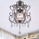 Scrolled Arm Metal Ceiling Hang Fixture Traditional Single Restaurant Pendulum Light in Champagne/Coffee with Crystal Bead Accents