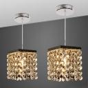 Cascade Down Lighting with Square Design Modern Crystal Strand 1 Light Chrome Pendant Lamp