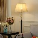 Barrel Pleated Fabric Floor Lamp Modernist 1-Light Beige Crystal Floor Standing Light with Black Marble Base