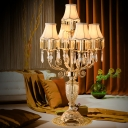 5 Bulbs Table Lighting Countryside Bell/Candelabra Crystal Night Light in Gold with/without Shade