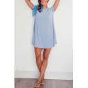 Simple Womens Plain Pockets Short Sleeve Crew Neck Mini Smock Dress