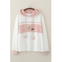 Lovely Girls Cat Patterned Contrasted Long Sleeve Paw Drawstring Relaxed Hoodie
