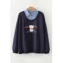 Leisure Girls Korean Letter Cat Graphic Polo Collar Patchwork Long Sleeve Loose Pullover Sweatshirt
