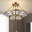 Milk Glass Brass Ceiling Light Fixture Spinning Top 4 Heads Colonial Semi Flush for Living Room