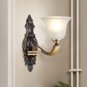 Traditional Flared Sconce Light 1/2 Lights Opaline Glass Wall Lighting Fixture in Black and Gold
