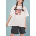Chic Womens Figure Printed Crew Neck Short Sleeve Relaxed Fit Tee Top