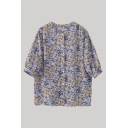 Popular Ditsy Flower Printed Half Sleeve Collarless Button-up Loose Fit Shirt Top for Women