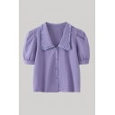 Pretty Ladies Solid Color Stringy Selvedge Puff Sleeve Point Collar Button-up Relaxed Shirt