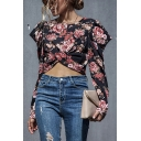 Vintage Ladies All over Floral Printed Twist Detail Keyhole Back Round Neck Puff Long Sleeve Slim Fit Crop Shirt